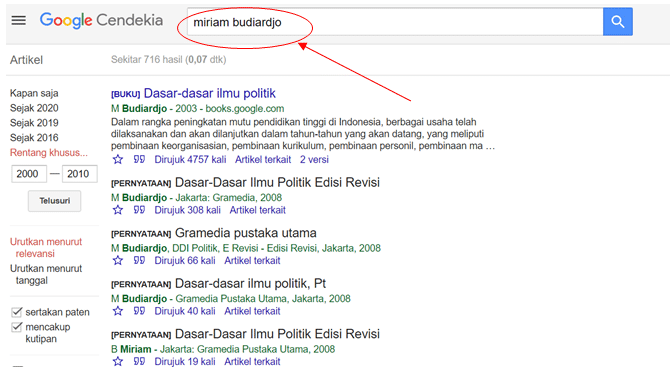 Mencari Tulisan Berdasarkan Penulis di Google Cendekia