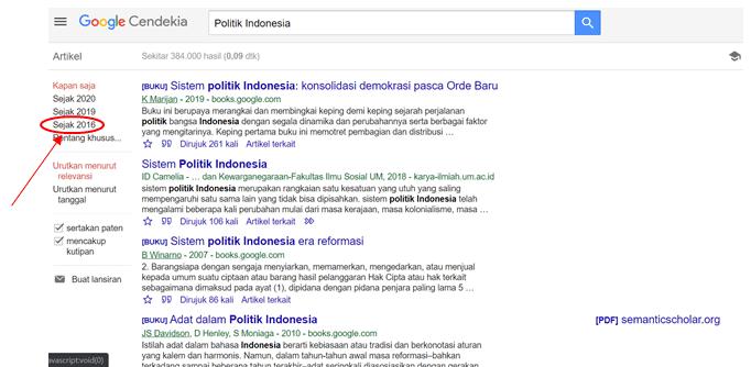 Mencari Tulisan Berdasarkan Tahun di Google Cendekia