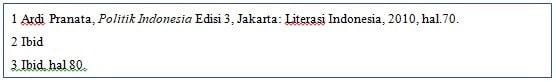 Penulisan Footnote - Ibid